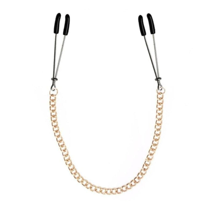 Golden Flirting Nipple Clamps With Chain