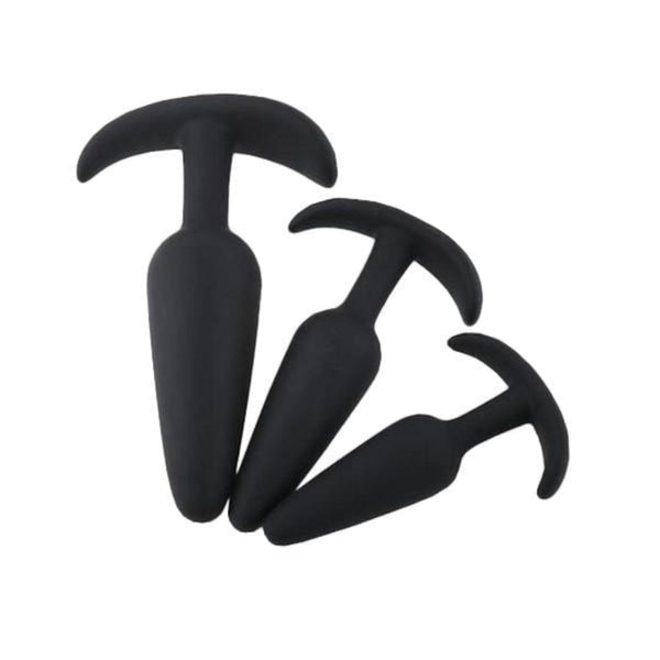 Sai-Shaped Black Silicone Butt Plug 3.27 to 4.84 Inches Long