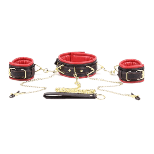 Leather Bondage Choker With Nipple Clamps