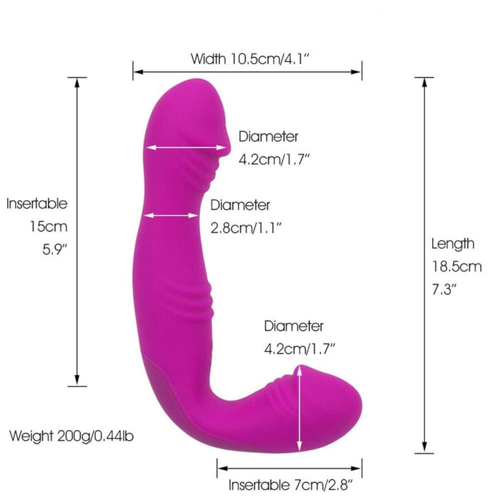 Rechargeable L-Shaped Pegging Strapless Dildo
