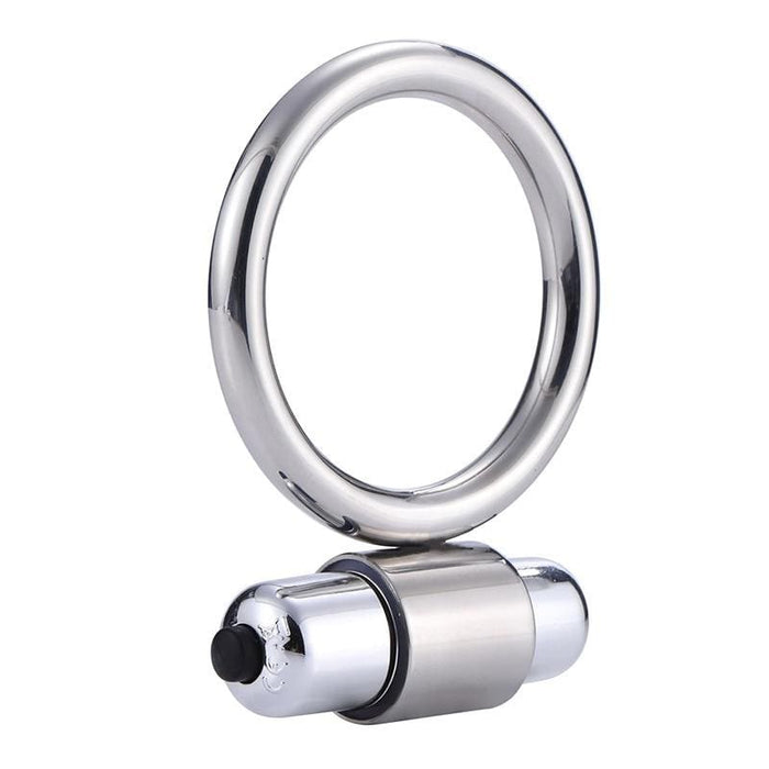Vibrating Stainless Bullet Cock Ring