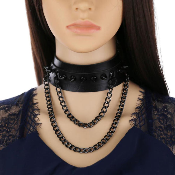 Spiked Trendy Goth Leather Choker