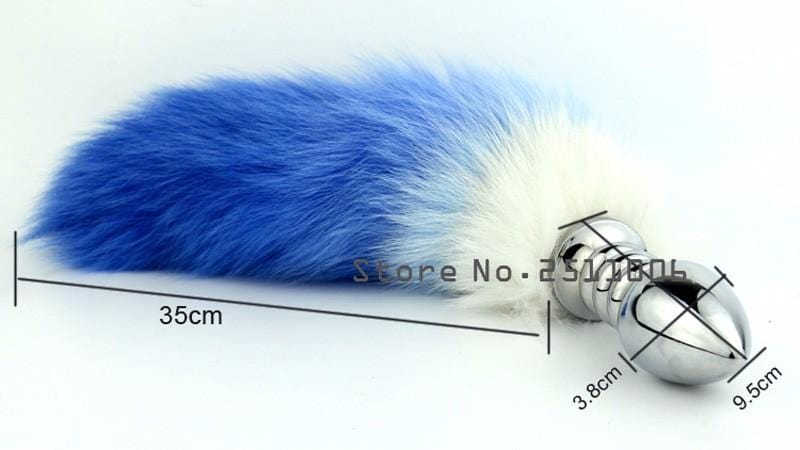Red/Blue Cat Tail Butt Plug 17 Inches Long