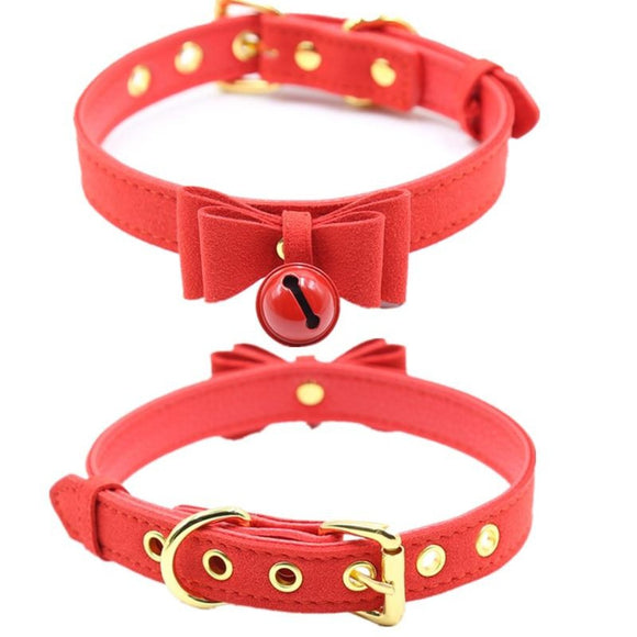 Cute Leather Bow Tie Princess Collars