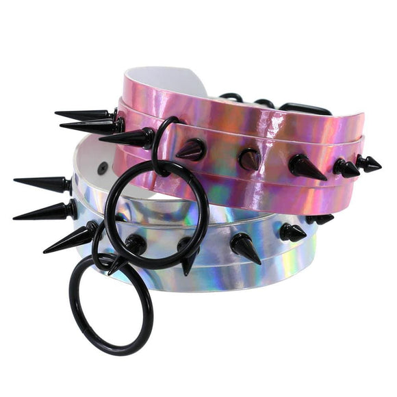 Colorful Oversized Spiked Collar