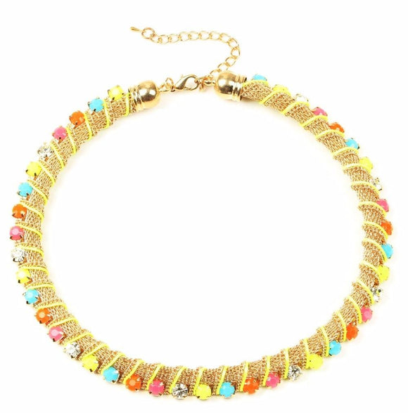 Colorful Jewel-Encrusted Choker Collar