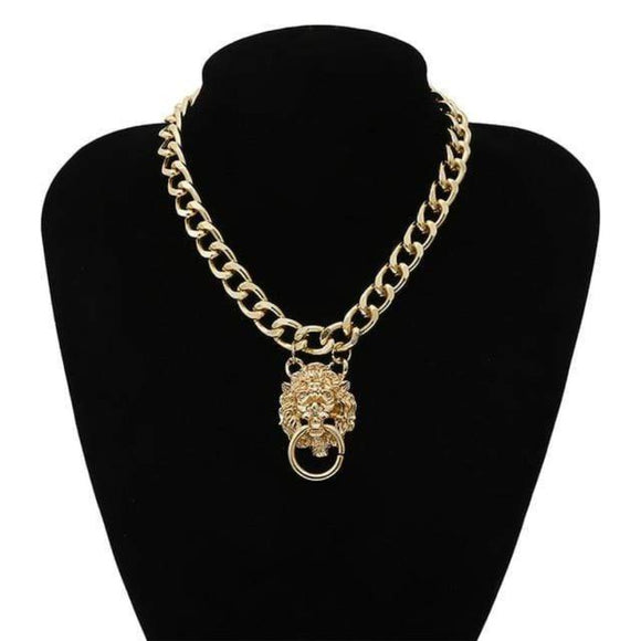 Golden Lion Choker Collar Necklaces