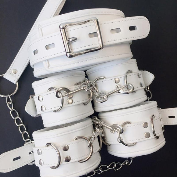 Fashionable White Leather Cuffs Set