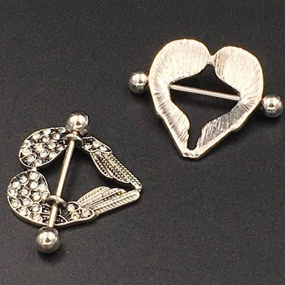 Heart-Shaped Angel Nipple Ring