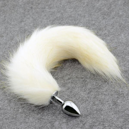 Charming White Cat Tail Butt Plug 17 inches long