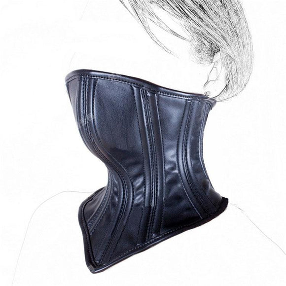 Black Leather Mouth Corset Binder