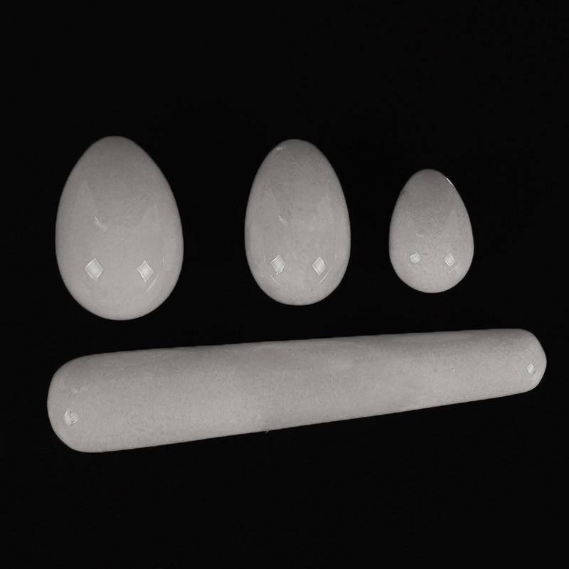 Drilled White Jade Egg with Pleasure Stick 4pcs Set