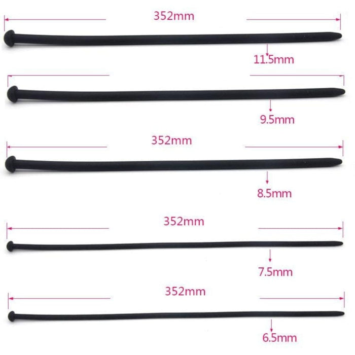 Black Silicone Urethral Sounds 7pcs Set