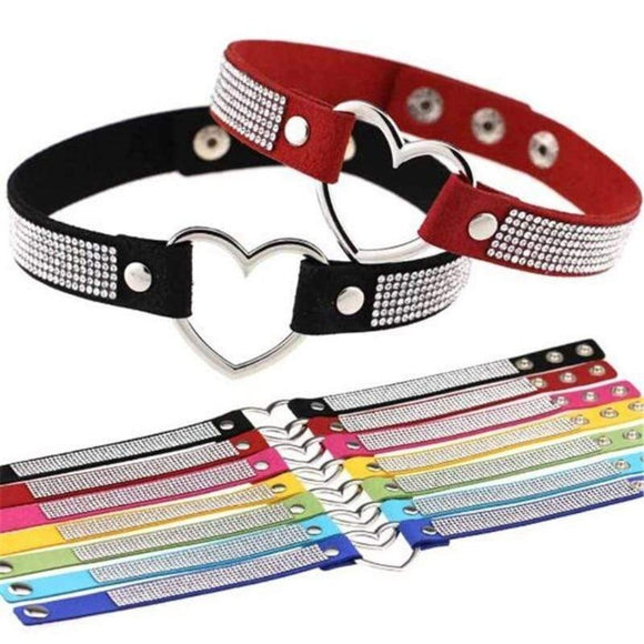 Velvety Rhinestone Choke Collar for Humans