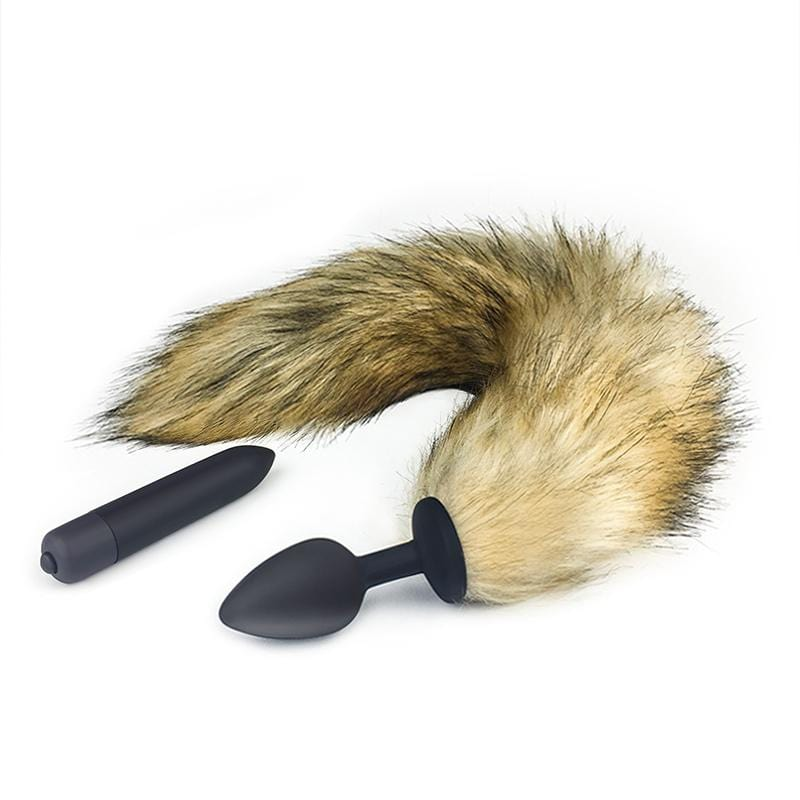 Sexy Fox Tail Butt Plug 17 Inches Long With Extra Vibrator