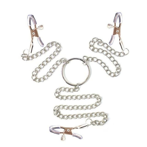 Metal Chain Clitoris to Nipple Clamps
