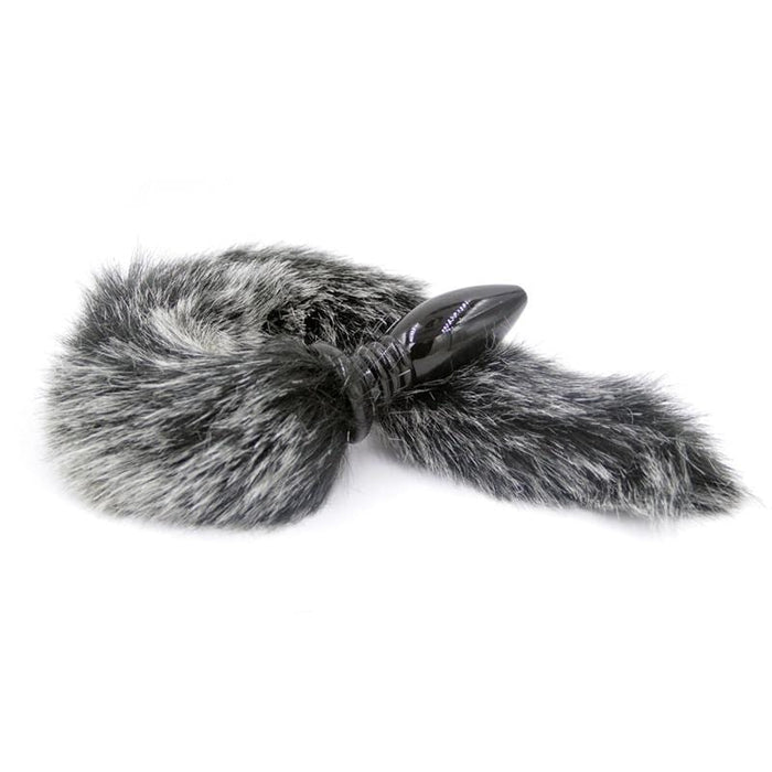Salt and Pepper Style Silicone Fox Tail Butt Plug 17 Inches Long