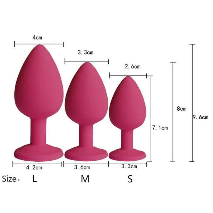 Colored Silicone Butt Plug 2.8 to 3.78 Inches Long