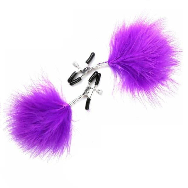 Erotic Feather Nipple Clamps for Couples