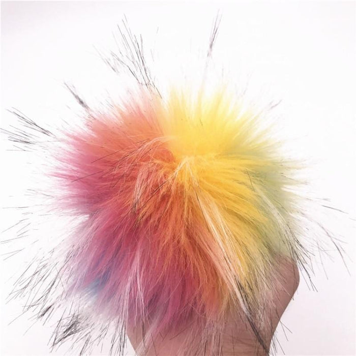 Stylish Rainbow-Colored Bunny Tail Butt Plug 2.95 Inches Long