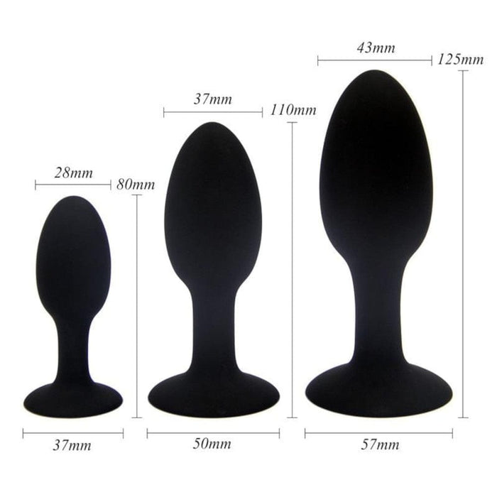 Silicone Butt Plug With Internal Metal Ball 3.15 to 4.92 Inches Long