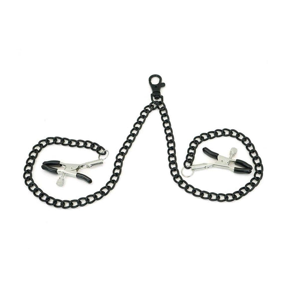 Tantalizing Black Nipple Clamps With Chain