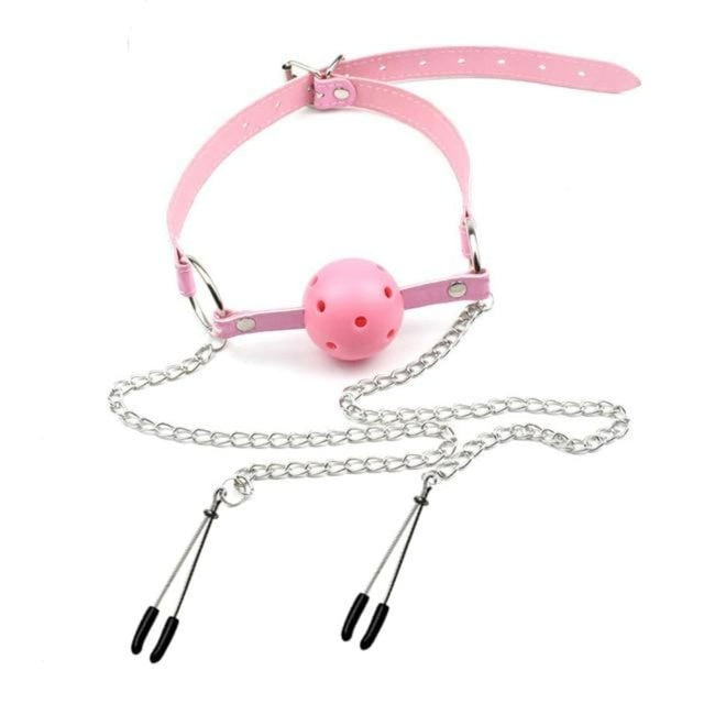 Open-Mouthed Gag and Choker With Nipple Clamps