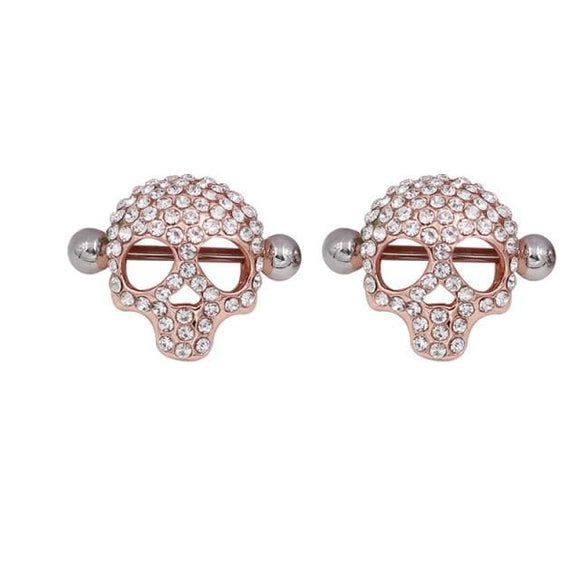 Studded Skull Rose Gold Nipple Jewelry
