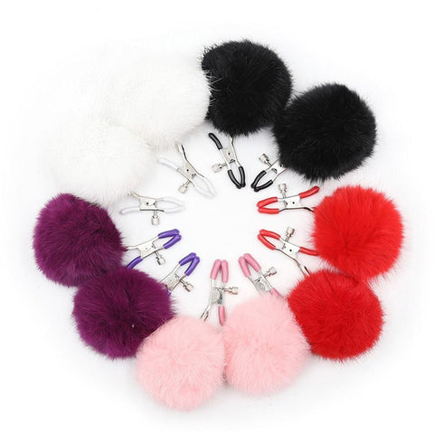 Furry Ball Nipple Clamps for Couples