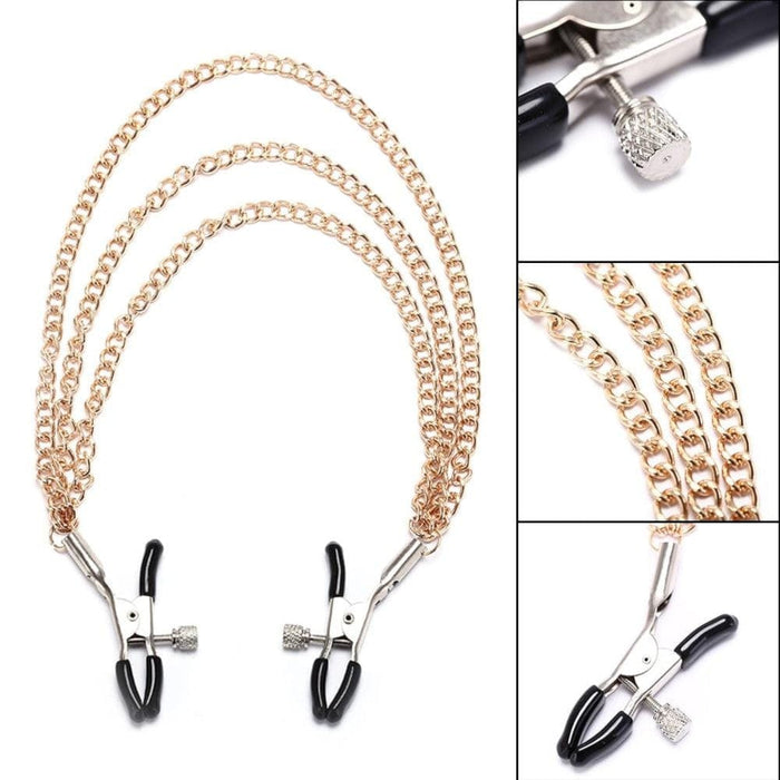 Triple Gold Nipple Clamps With Chain