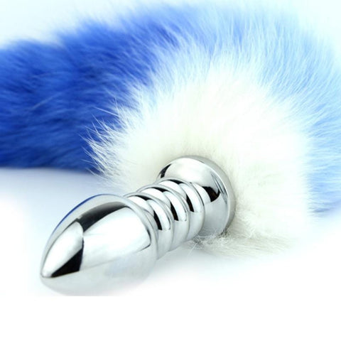 "17"" Red/Blue White Chunky Ribbed Stainless Steel Cat Tail Plug"