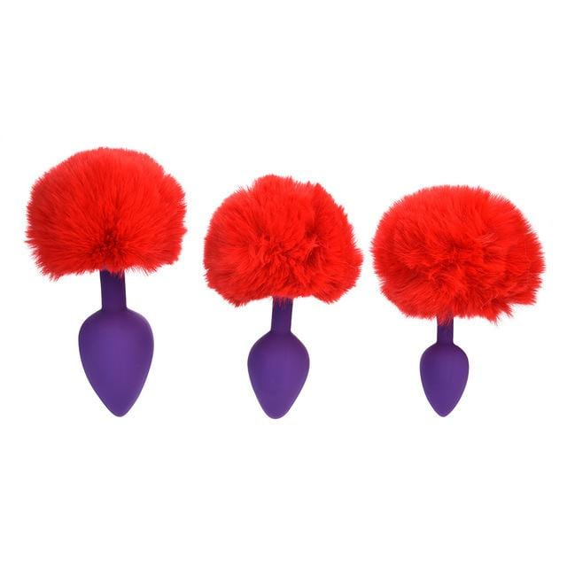 Purple Silicone Bunny Tail Butt Plug 3pcs Set