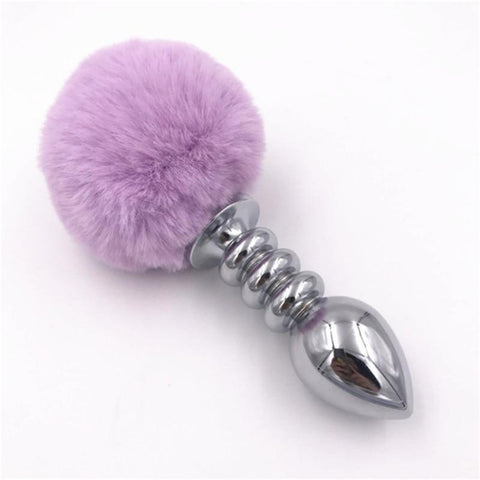 "2.95""-4.13"" Classic Light Purple Rabbit Tail Plug"