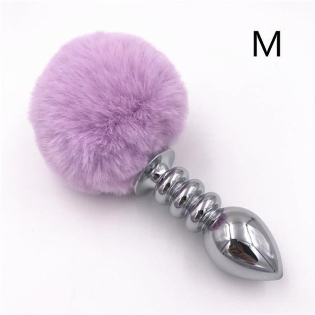 Classic Purple Bunny Tail Butt Plug 2.95 to 4.13 Inches Long