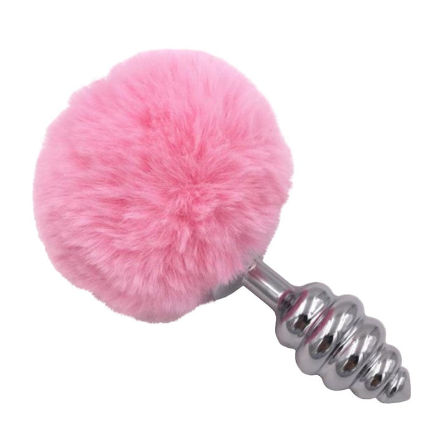 Pink Ribbed-Contoured Bunny Tail Butt Plug 2.7 to 3.5 Inches Long