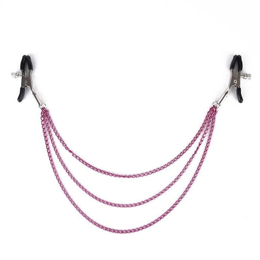 Exotic Purple Nipple Clamps With Chain
