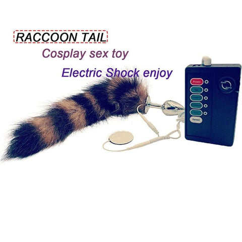 Electric Shock Stainless Steel Butt Plug with Faux Raccoon Tail