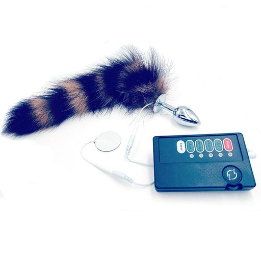 Faux Raccoon Tail Butt Plug With Electric Shock