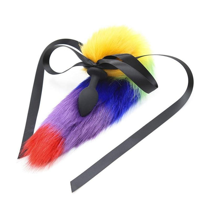 Colorful Fake Fur Dog Tail Butt Plug 17 Inches Long