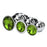 Ribbed Aluminum Jeweled Butt Plug 3pcs Set