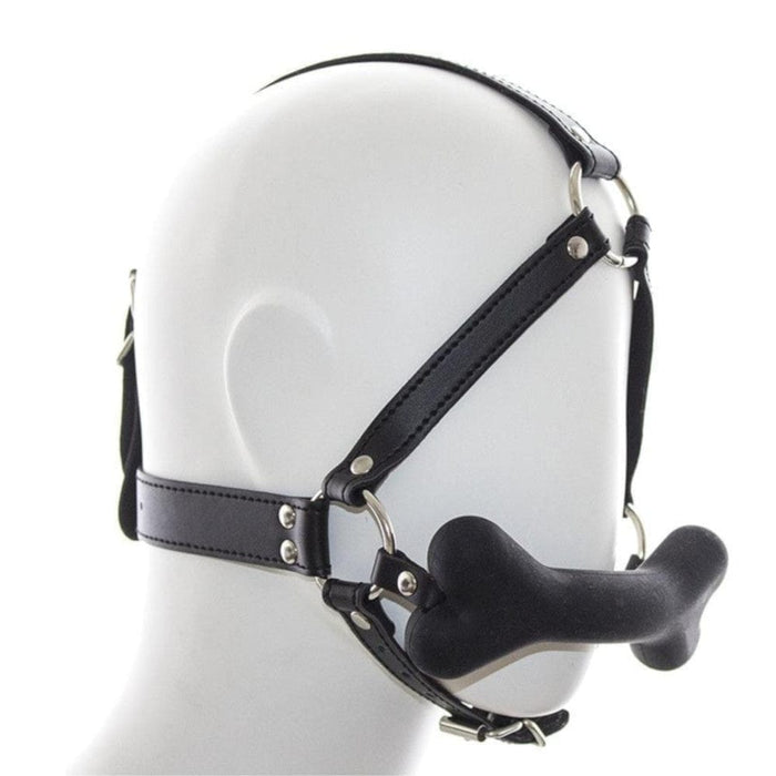 Leather and Silicone Bone-Shaped Pet Play Gag