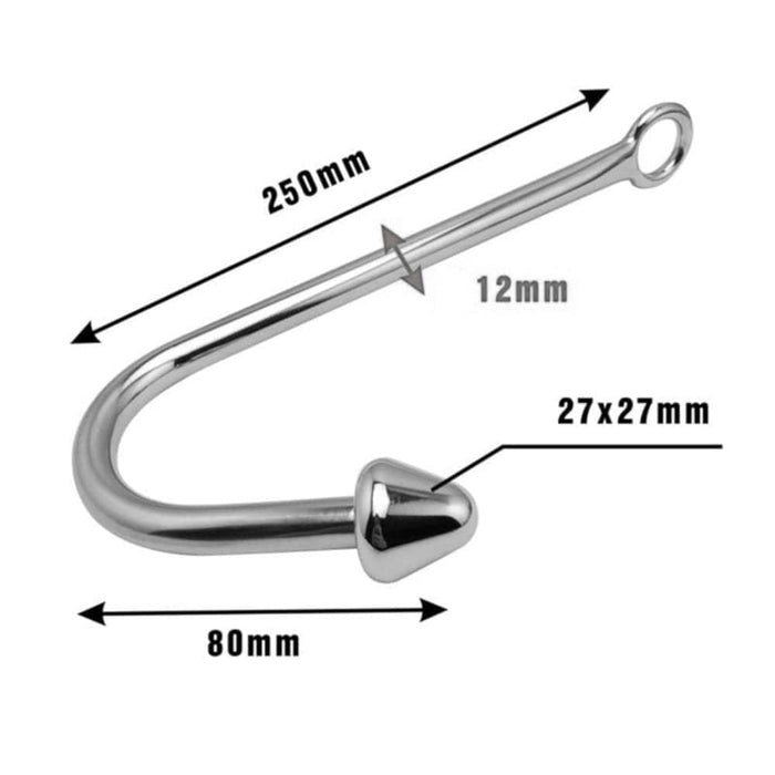 Cone-Shaped Bead Metal Anal Hook 9.84 Inches Long