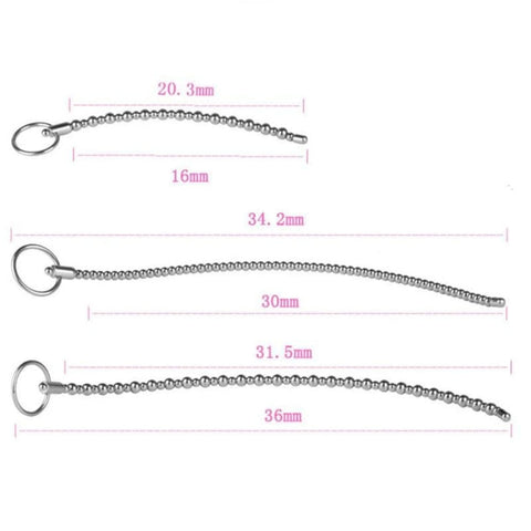 "7.99"" - 14.17"" Beaded Stainless-Steel Urethral Sound"