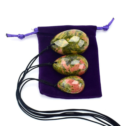 Drilled Natural Unakite Crystal Egg 3pcs Set
