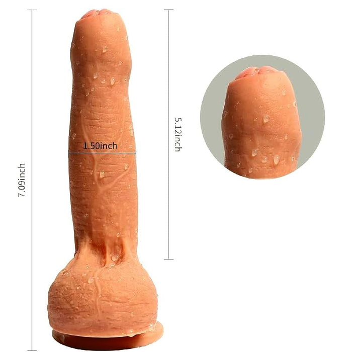 Uncircumcised 7 Inch Dildo With Testicles and Suction Cup
