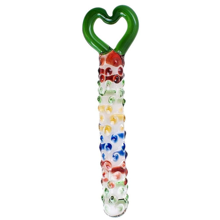 Dotted Colorful Crystal Dildo With Heart-Shaped Handle