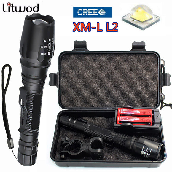 Z15 LED Flashlight Torch Lights & lighting Portable light lamp Search Self defense Lantern 5 Modes Zoomable 4000LM XML-T6 / L2