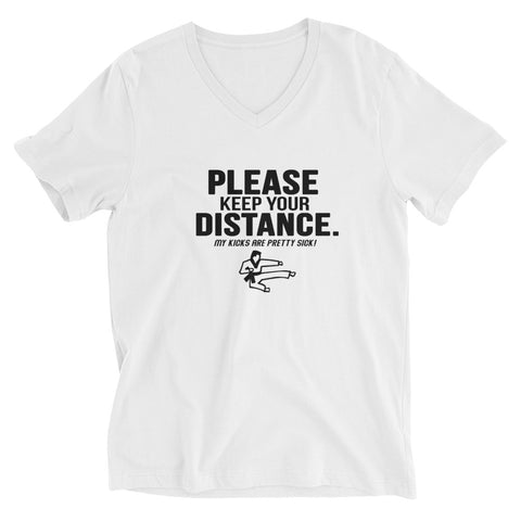 "NEW! ""Keeping Distance"" Adult Unisex V-Neck T-Shirt"