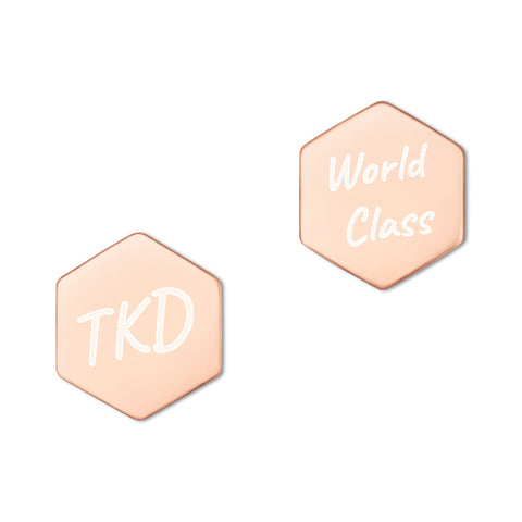 World Class TKD Hexagon Stud Earrings