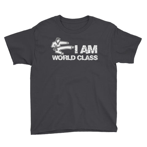 """Work Hard or Harder"" (I AM World Class) Youth Short Sleeve T-Shirt"